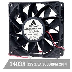 Вентилятор охлаждения Gdstime DC 12 В 140 мм 140 мм x 140 мм x 38 мм, 1,5a, чехол для компьютера с высоким давлением ветра, осевой вентилятор