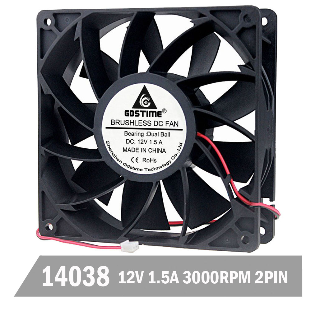Gdstime DC 12V <font><b>140mm</b></font> <font><b>140mm</b></font> x <font><b>140mm</b></font> x 38mm Cooling <font><b>Fan</b></font> 1.5A High Wind Pressure Computer Case <font><b>Fan</b></font> Industry Axial <font><b>Fan</b></font> image