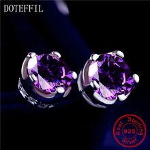 DOTEFFIL 925 Silver Stud Earrings Inlaid AAA Zircon Woman Charm Silver Round Earrings Feminine Jewelry 2 Color Choices new arrivals 925 sterling silver stud earrings women simple charm inlaid aaa zircon jewelry 100% silver feminine earrings