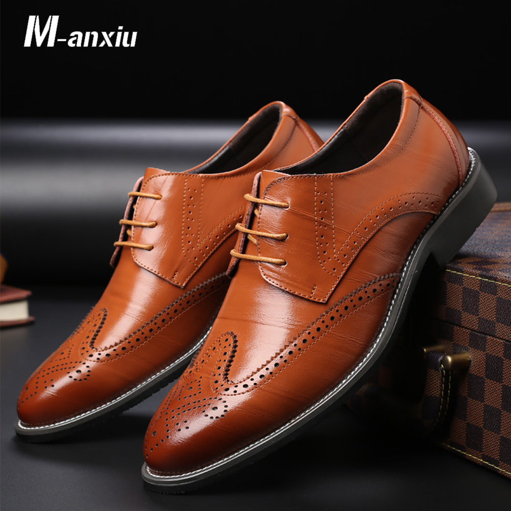 M-anxiu Men Casual Leather Pointed Toe Shoes Wedding Lace Up Dress Bullock Shoes Fashion Business Oxford Shoes Size 38-48 pjcmg new fashion luxury comfortable handmade genuine leather lace up pointed toe oxford business casual dress men oxford shoes