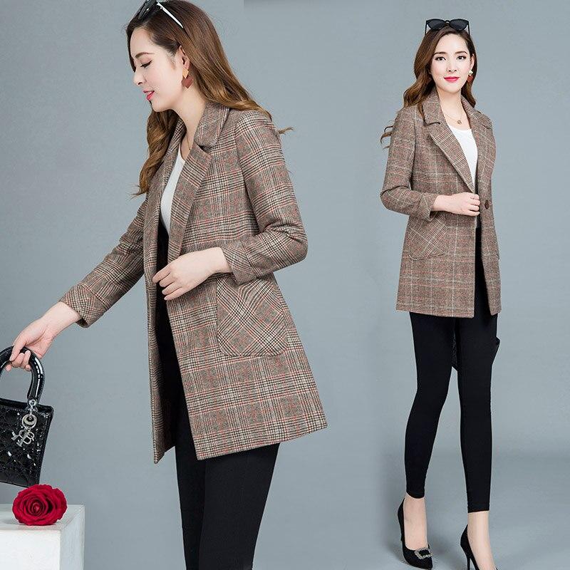 2019 Frühling Herbst Vintage Plaid Anzug Mäntel Weibliche Frauen Windjacke Jacke Dünnen Großen Größe Casual Büro Blazer Re2434