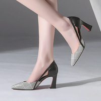 Europe and the United States 2018 new leather women's shoes round head thick with leather high heels hollow women's single shoes