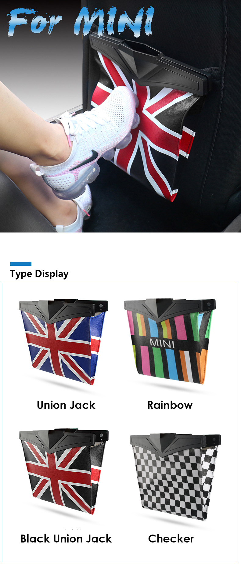 Leather Car Seat Storage Bag Trash Bag Basket for Mini Cooper R55 R56 R57 R58 R59 F54 F55 F56 F57 Countryman R60 F60 (1)