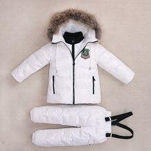 -30 grados trajes de invierno para niñas niños ropa conjuntos niños nieve  chaquetas + los pantalones del mono de los niños pato . 0be68174111df