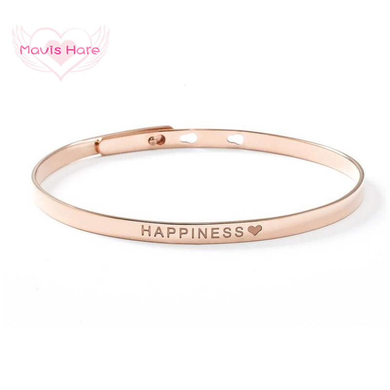 Mavis Hare HAPPINESS BANGLE Stainless Steel Adjustable Bracelet Bangle Silver/gold/rose Gold Beach Accessories As Summer Jewelry