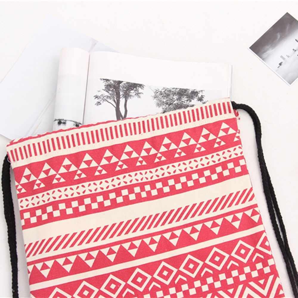 Женский холщовый рюкзак, сумка на плечо, этнический Ветер, карман на шнурке, Студенческая сумка, Женский тканевый рюкзак, женские маленькие рюкзаки