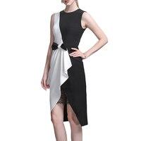 2017 Women Dress Elegant Vintage Contrast Colorblock Slim Bow Patchwork Dresses Casual WorkWear Office Party Pencil