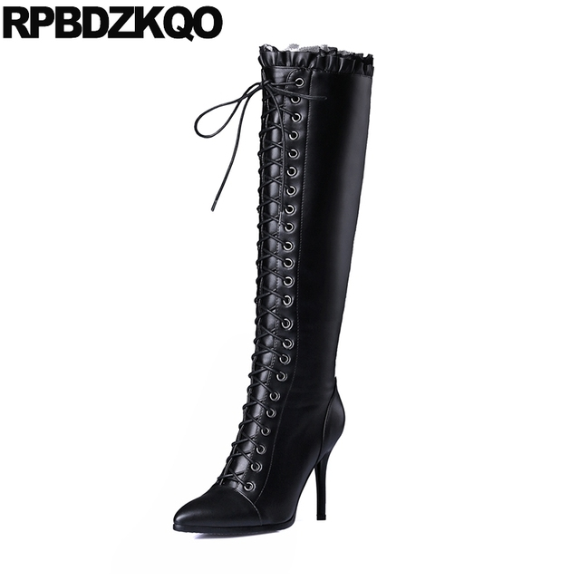Real Leather Thin Brand Women Winter Boots Genuine Black Shoes Long Zipper Knee High Sexy Heel Pointed Toe Stiletto Slim Lace Up
