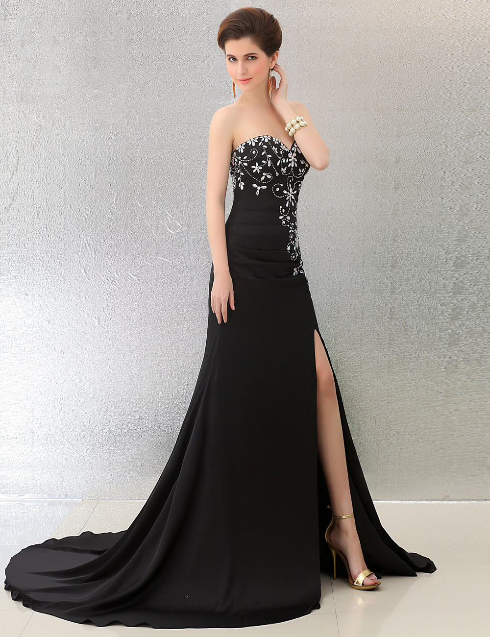 Long Black Evening Dresses with Crystals Sweetheart Side Split ...