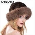 Luxury Autumn Winter Women's Genuine Real Raccoon Fox Fur Hats Lady Warm Caps Female Beanies Headgear Women Fur Cap C06