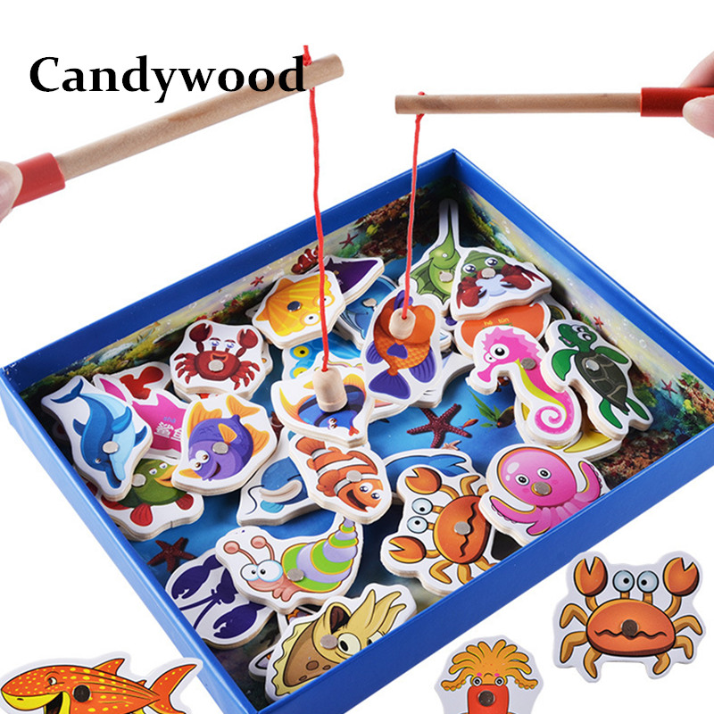 Kids Fishing Toys 32Pcs Fish Wooden Magnetic Fishing Toy Set Fish Game Children Educational toys for Boy G