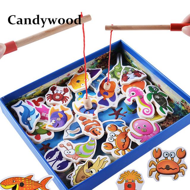 Kids Fishing Toys 32Pcs Fish Wooden Magnetic Fishing Toy Set Fish Game Children Educational toys for Boy G