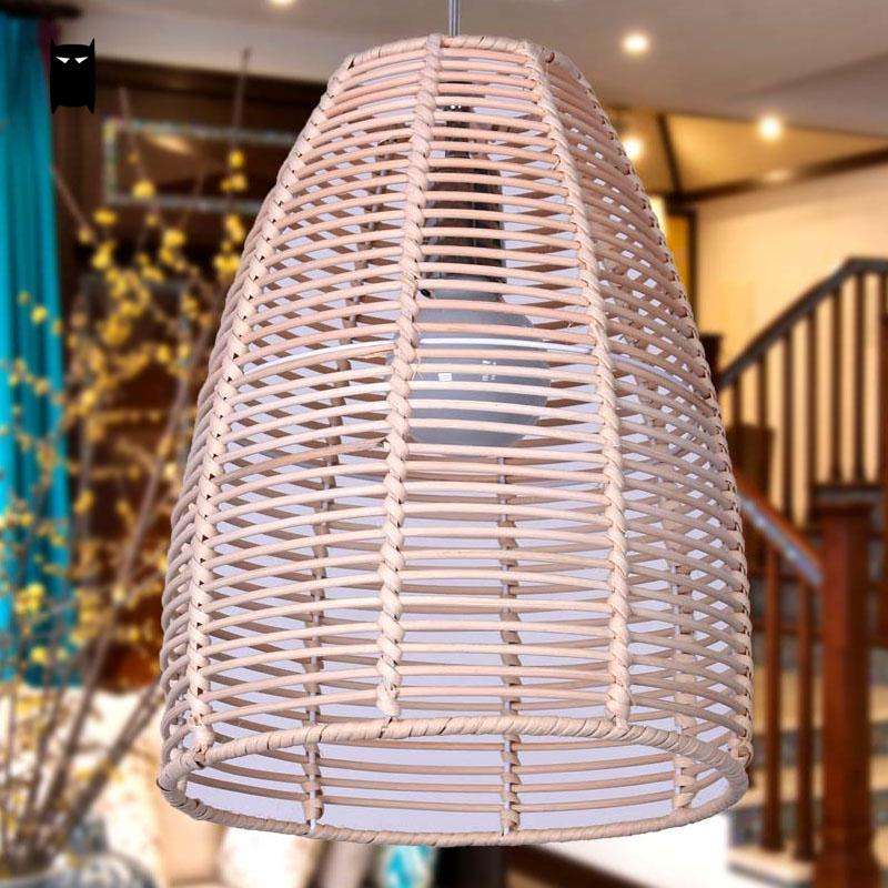 Round Wicker Rattan Bell Pendant Light Fixture Rustic Asian Country Vintage Lamp Avize Luminaria Dining Table Study Room Balcony