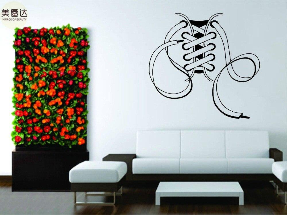 Decalcomania Della parete Del Vinile Della Decorazione di Arte Sticker Lacci Scarpe Stivali Scarpe Da Ginnastica Popolari