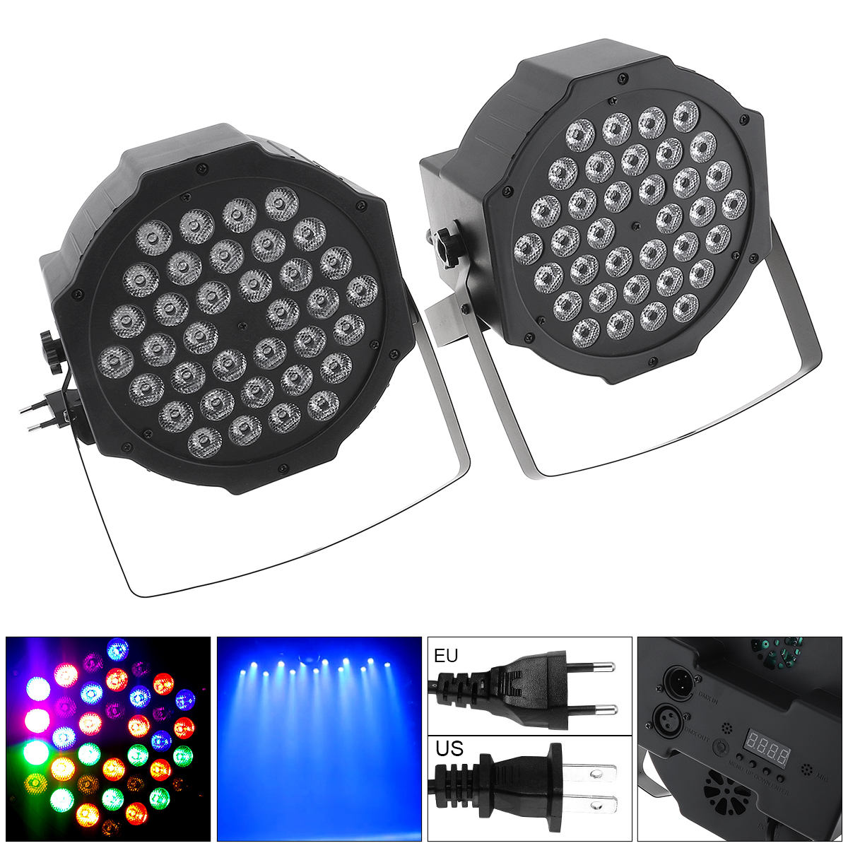 2pcs 36 LEDs RGB Stage Light Effect Stroboscope Flash Lamp With Stand And DMX Interface For Disco / Stage / Bar Effect