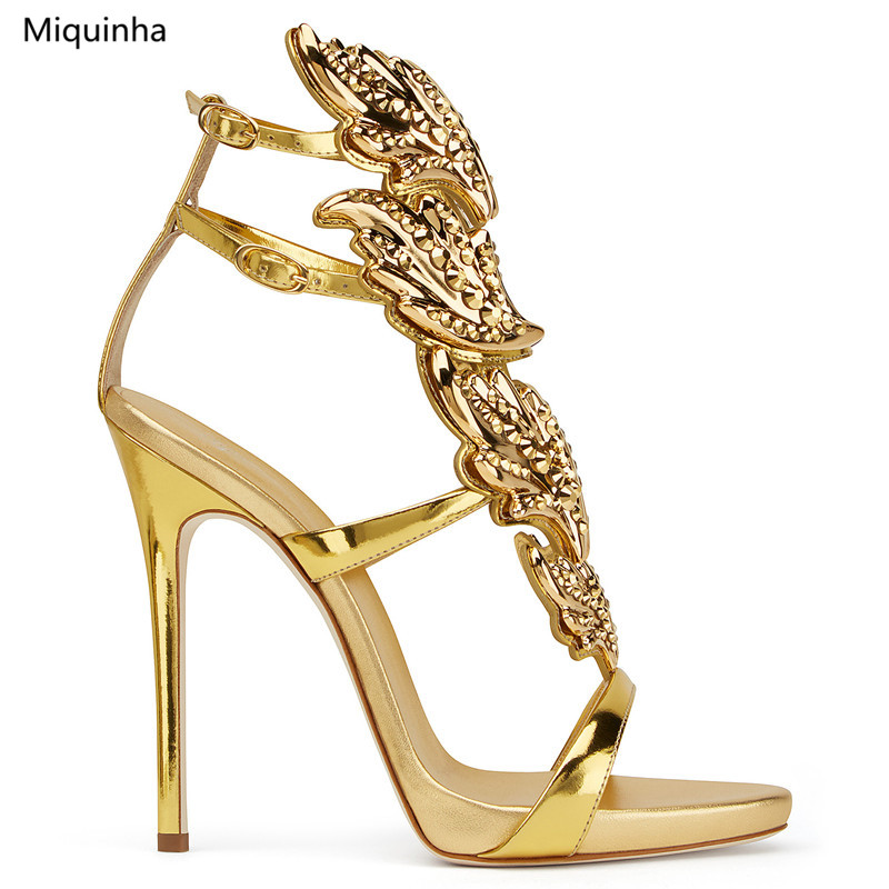 493190b86b772e Hot Lady Angel Wings Black Gold Silver Thin High Heels Sandals Gladiator  Rome Wedge Women Golden Leaf Leather Shoes Real Leather-in High Heels from  Shoes on ...