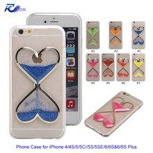 Fdm 7 cores da forma do coração ampulheta caso claro para o iphone 7 6 6 s 6 além de 6 S 7 Mais 5 5C 5S 5SE 4 4S Pó Glitter TPU Telefone cobrir