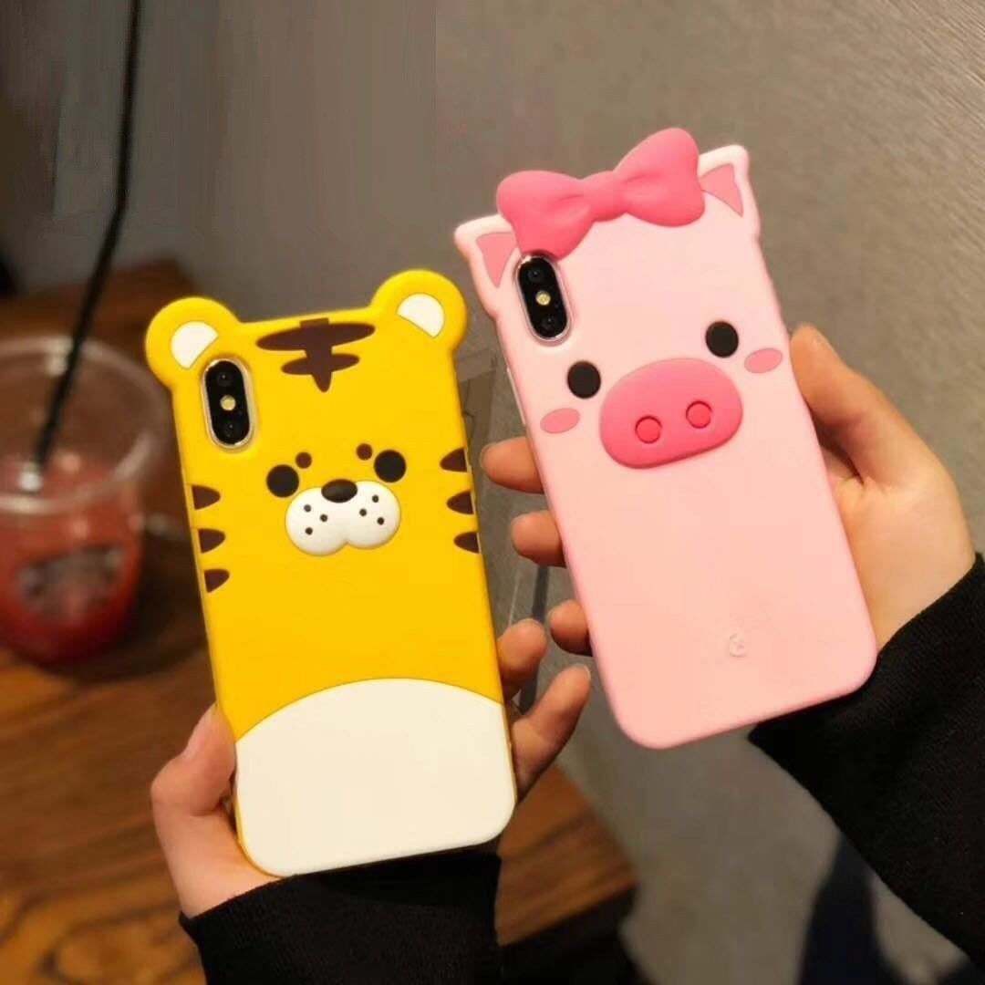 3D Cute Cartoon Pink Pig Yellow Tiger Soft Rubber Silicone