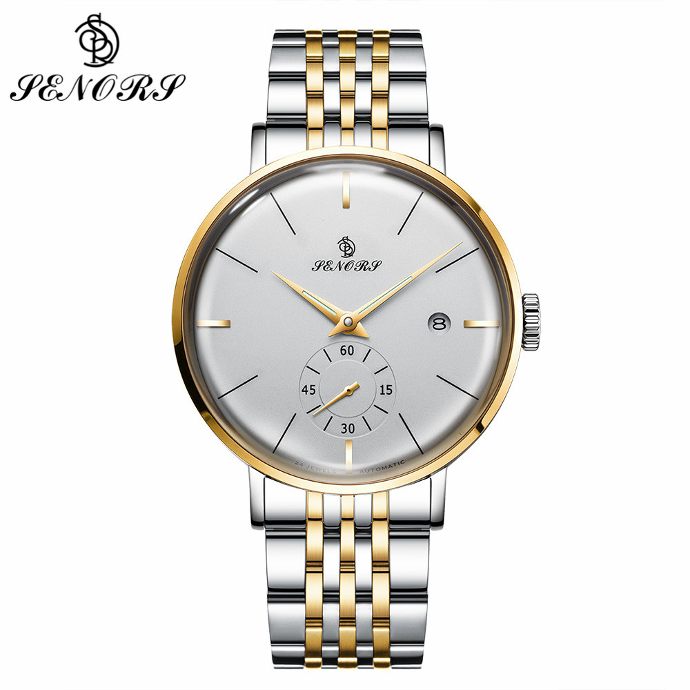 SENORS Business Men Automatic Watch Date Display Stainless Steel Bracelet Mechanical Watches Waterproof Clock Men Wristwatches forsining date display automatic mechanical watch men business leather band watches modern gift dress classic analog clock box