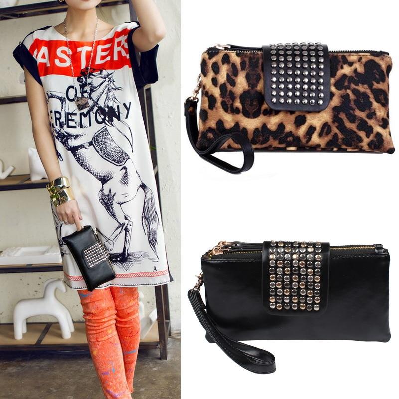 Fashion Women's Korean Style Faux PU Leather Black Rivet Clutch Purse Wallet Bag Handbag  High Quality LT88 cool double skull rivet style cowhide leather purse wallet black silver