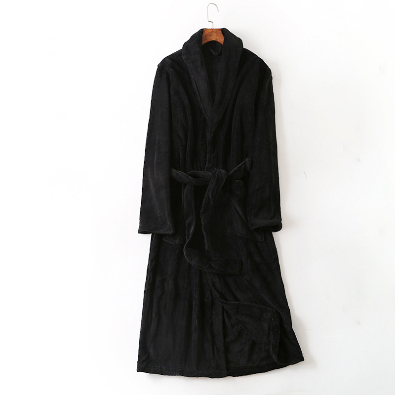 Black Man's Bathrobe Man Coral Fleece Winter Robe Home Wear