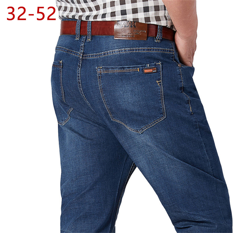 32-52 Big Size Mens Casual Jeans High Quality Cotton Straight Trousers Fashion Male Lightweight Fashion Summer Long Pants HLX154