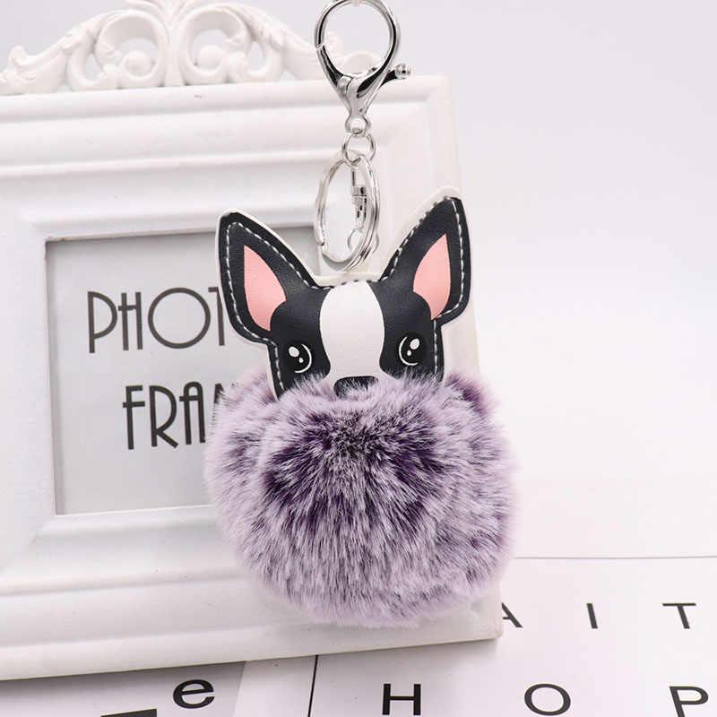 Cão bonito Keychain chaveiro Pompom Fofo Artificial Chave Anéis De Bola de Pele De Coelho Mulheres Saco Carro Pingente Charme pom pom titular Gift35