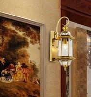 Balcony vintage copper Wall Lights antique Garden light indoor & outdoor lighting bedroom retro glass cover wall lamp sconce