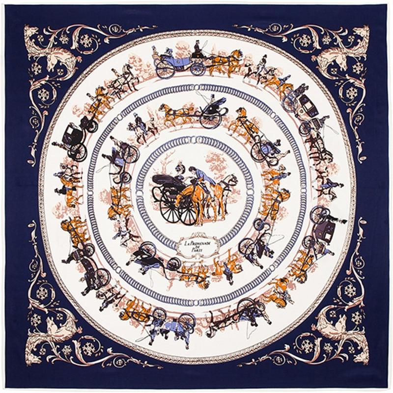 Fashion Twill Silk Women Scarf Royal Household Horse Carriage Trip Print Square Scarves 100*100 cm High Quality Gift Silk Shawl