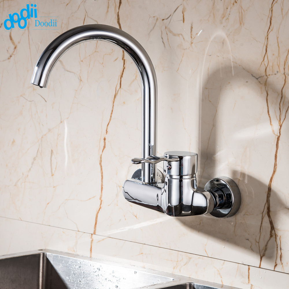 compare prices on wall kitchen faucets online shopping buy low doodii high quality wall mounted double holes kitchen faucet single handle chrome kitchen mixer taps