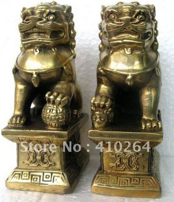 Us 35 99 20 Off Free Shipping Chinese Foo Dog Lion Fu Bronze Statue Pair Figurines Feng Shui Items Oriental Sz 11x6x8 3cm In Statues Sculptures