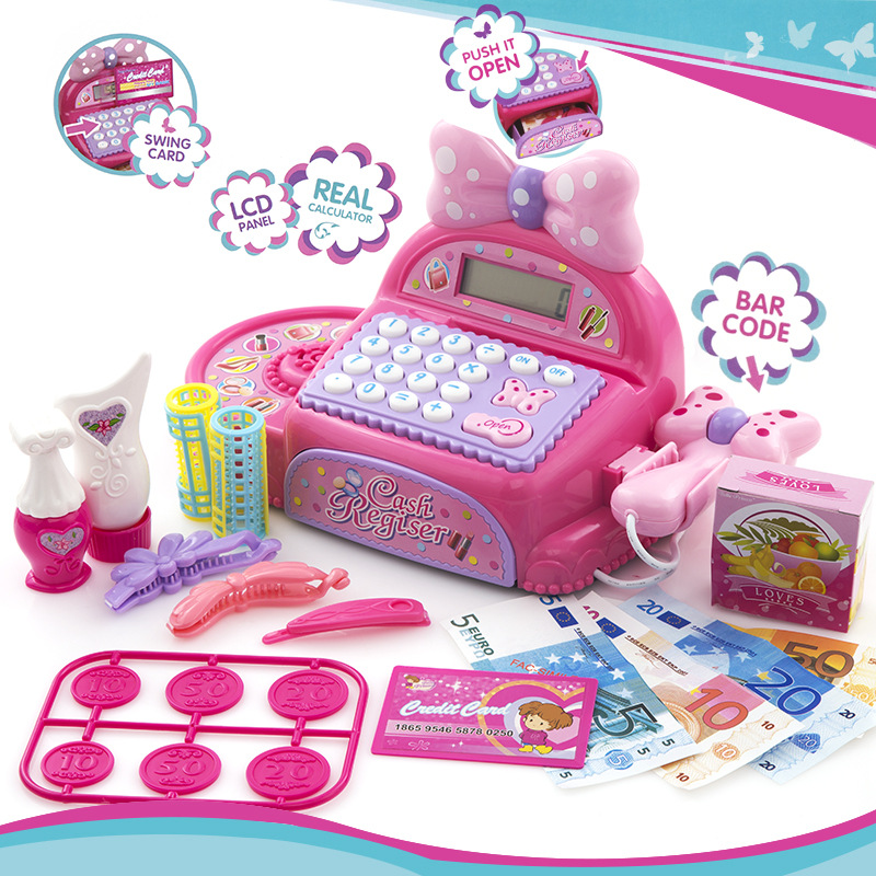 Pink Electronic Cash Register Set Pretend Toy Girls Princess Real life Supermarket checkout Toy Birthday /Christmas Gift