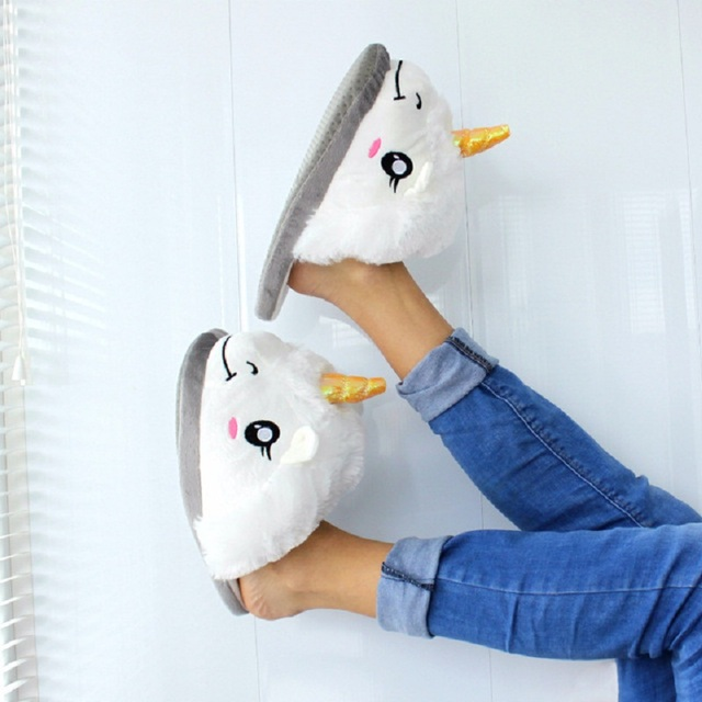 Halloween New Winter Indoor Slippers Plush Home Shoes Unicorn Slippers for Grown Ups Unisex Warm Home Slippers Shoes