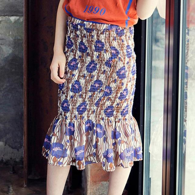 Girls chiffon fishtail skirt baby summer children's clothing cuhk printed package hip kids skirts big girls fashion short skirt