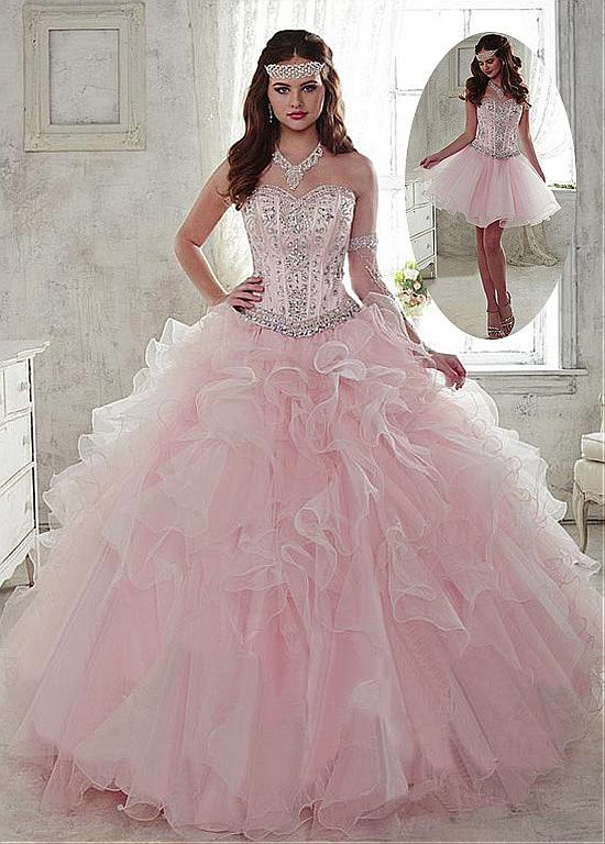 2019 Sparkly Beaded Pink 2 in 1 Ball Gown Prom Dresses Detachable Skirt  Crystals Corset Party e7d592d2b1bd