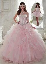 2019 Sparkly Beaded Pink 2 in 1 Ball Gown Prom Dresses Detachable Skirt Crystals  Corset Party 14e5c742b52c