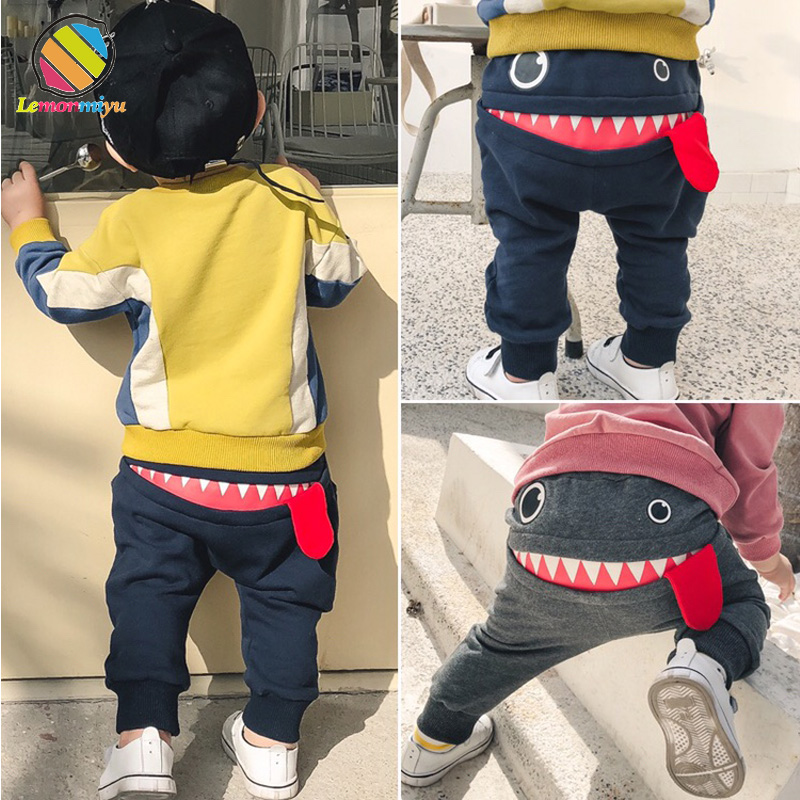 Lemonmiyu Baby Boy Pants For Newborn Cotton Full Length Spring Autumn Casual Toddler Trousers Cartoon Loose Elastic Pants jiqiuguer women solid cotton wide leg embroidery pants vintage stretch jeans elastic waist loose casual spring trousers g182k004