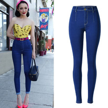 2016 New Fashion Jean Femme Plus Size Stretch High Waist Skinny Jeans Woman Dark Blue Pencil Casual Slim Denim Pants EG6329