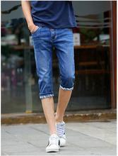 2016 summer fashion Korean style calf Length Zipper fly Solid Straight Slim vintage elastic Leisure cowboy pants Men Jeans Y31
