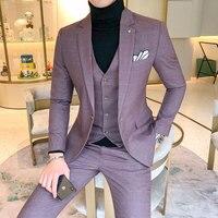 Size 5XL Men's Plaid Suit Sets 4 Colors Choose High end Mens Business Wedding Party Dress Man Jacket with Vest and Pants