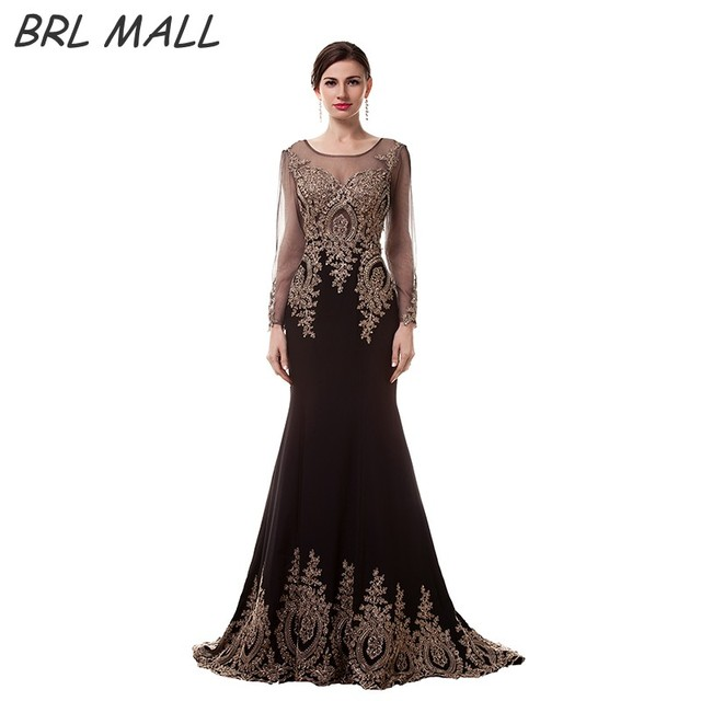 51147bc7bd4 Robe de Soiree 2018 Black Long Sleeves Mermaid Evening Dress Gold Lace  Appliques Prom Dress Sweep Train Evening Gown