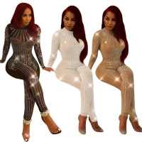 Sexy slim jumpsuit women's fashion bodysuit sequined net yarn trousers round neck rhinestones perspective nightclub women romper