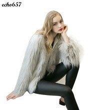 Женщины Пальто Echo657 Горячие Продажа Мода Новые Дамы Женщин Повседневная Теплый Искусственного Меха Лиса Пальто Зимняя Куртка Верхняя Одежда 25 Ноября