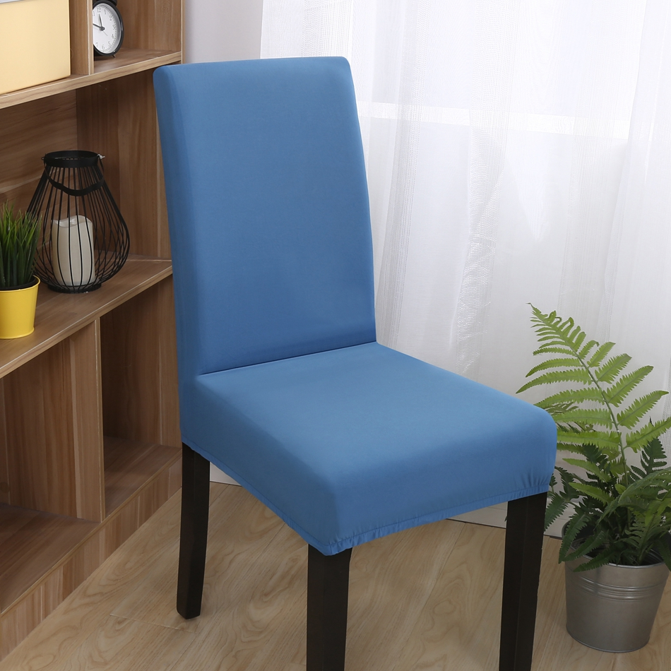 FXLS Machine Washable Blue Solid Color Stretch Chair Covers For Wedding Decoration Polyester Dining Room Slipcover
