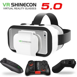VR SHINECON 5.0 Virtual Reality 3D Glasses With Gamepad For 4.7-6.0 inch Phone