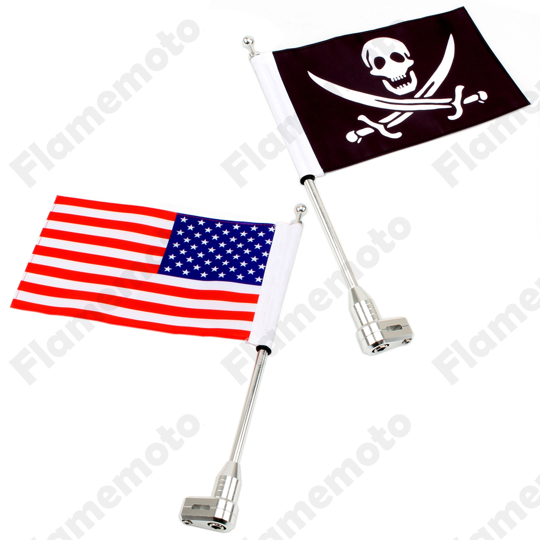 New Motorcycle Bike Accessories Silver Rear Luggage Rack Mount Flag Pole with USA And Skull Flag For Harley Dyna UNDEFINED  компрессометр fobo bike silver