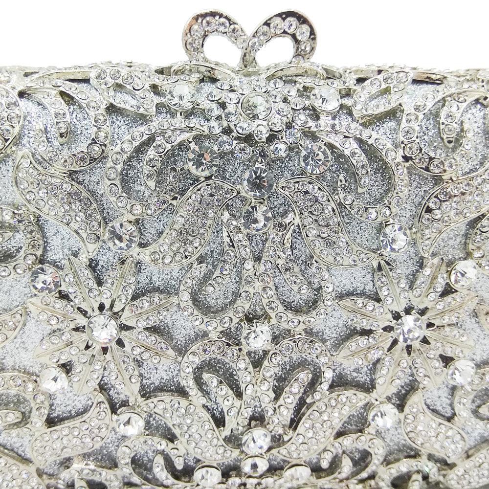 Boutique De FGG Hollow Out Dazzling Silver Crystal Vrouwen Avond Minaudiere Bag Wedding Bridal Bloem Metalen Handtas en Portemonnee-in Top-Handle tassen van Bagage & Tassen op  Groep 3