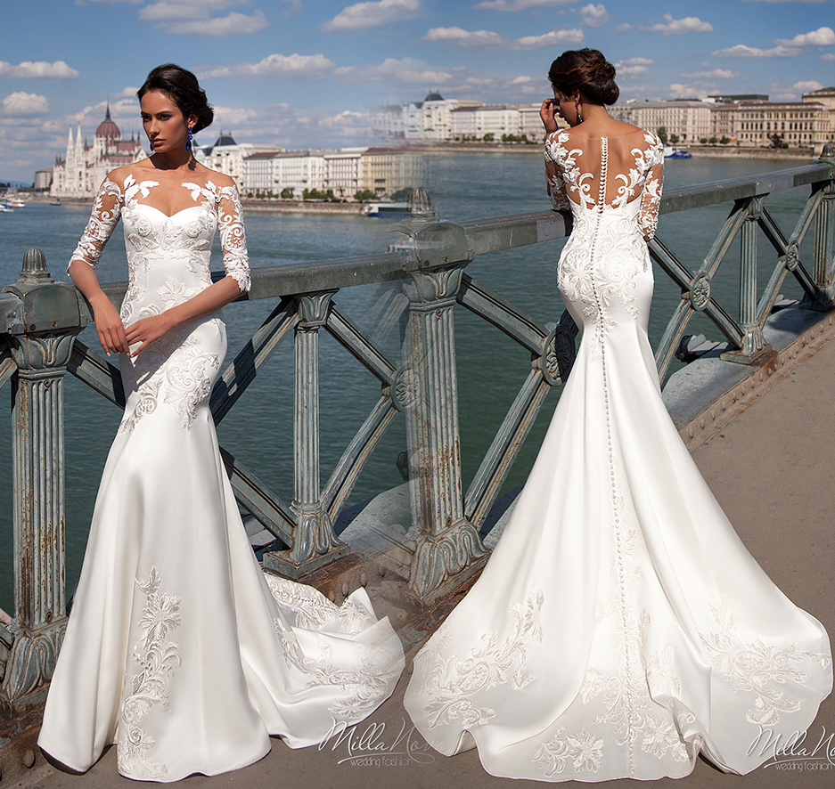 Robe De Mariee Sexy Mermaid Wedding Dresses 2017 Illusion Neck Half Sleeves Court Train Appliques Satin Gowns 2016 In From Weddings