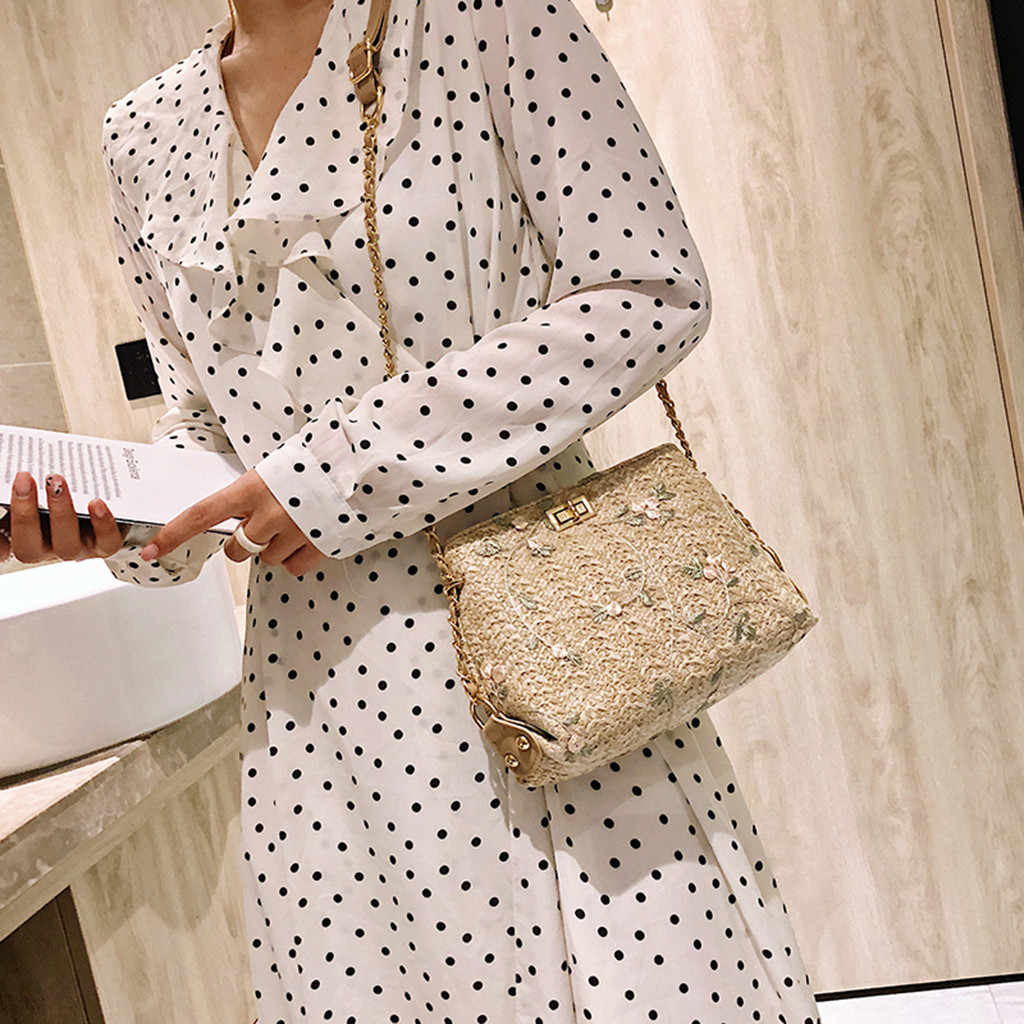 Aelicy New Brand Ladies Beach Lace Embroidered Decorative Retro Summer Knit Shoulder Bag Ladies Beach Bag Bohemian Tote