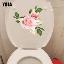 Yoja 22.5*21.6 cm rosa rosas menina quarto decalques de parede do banheiro wc assento adesivos T1-0385